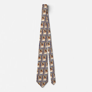 Vintage Christmas, Victorian Angel with Gold Bells Neck Tie