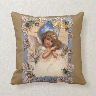 Vintage Christmas, Victorian Angel with Gold Bells Pillow