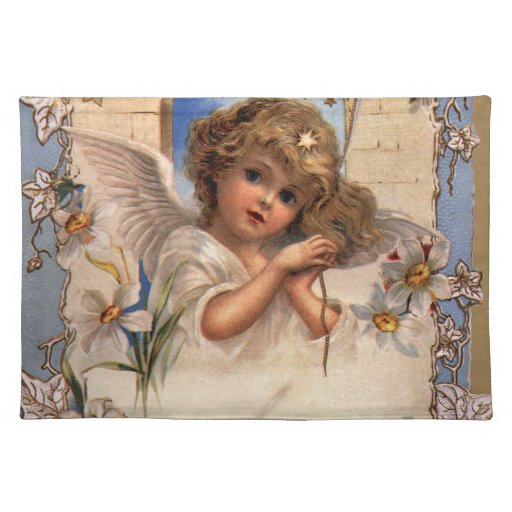 Vintage Christmas, Victorian Angel with Gold Bells Cloth Placemat