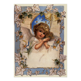 Vintage Christmas, Victorian Angel with Gold Bells Poster