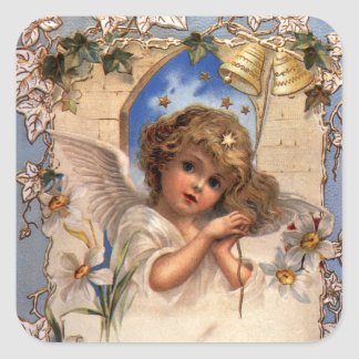 Vintage Christmas, Victorian Angel with Gold Bells Square Sticker