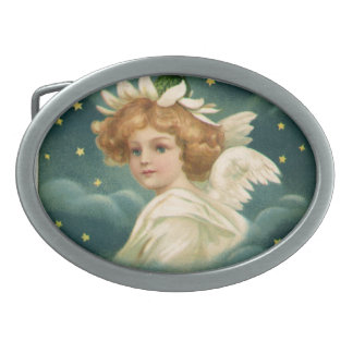 Vintage Christmas, Victorian Angel with Gold Stars Oval Belt Buckles