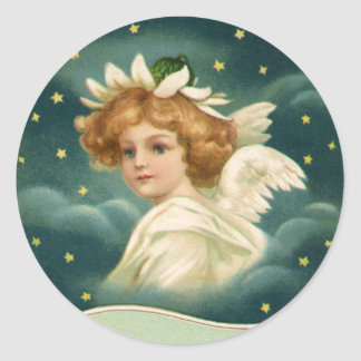 Vintage Christmas, Victorian Angel with Gold Stars Classic Round Sticker