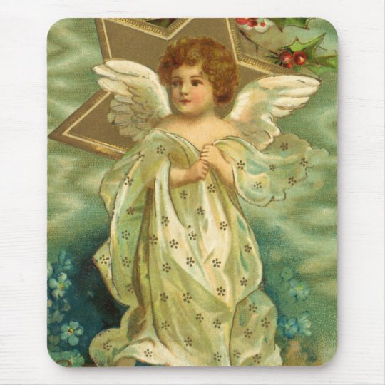 Vintage Christmas, Victorian Angel with Gold Stars Mouse Pad