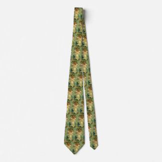 Vintage Christmas, Victorian Angel with Gold Stars Neck Tie