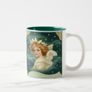 Vintage Christmas, Victorian Angel with Gold Stars Two-Tone Coffee Mug