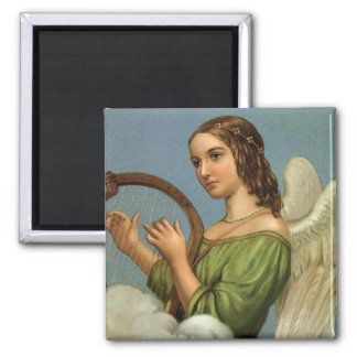 Vintage Christmas, Victorian Angel with Music Harp 2 Inch Square Magnet