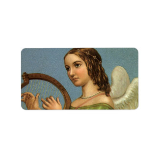 Vintage Christmas, Victorian Angel with Music Harp Address Label