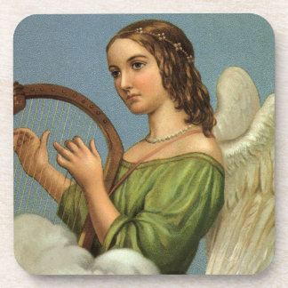 Vintage Christmas, Victorian Angel with Music Harp Beverage Coaster