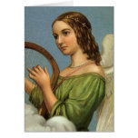 Vintage Christmas, Victorian Angel with Music Harp Greeting Card