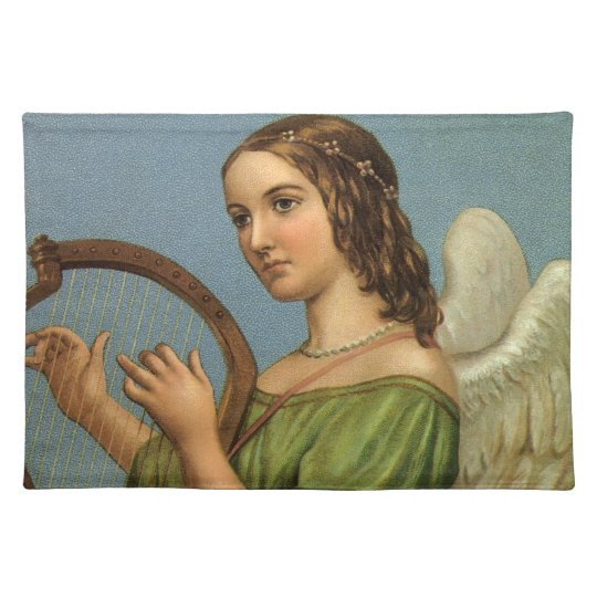 Vintage Christmas, Victorian Angel with Music Harp Cloth Placemat