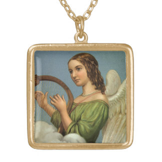 Vintage Christmas, Victorian Angel with Music Harp Gold Plated Necklace