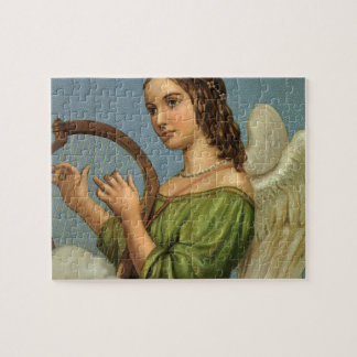 Vintage Christmas, Victorian Angel with Music Harp Jigsaw Puzzle