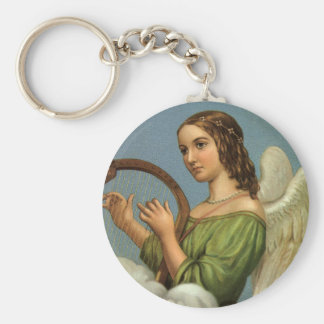 Vintage Christmas, Victorian Angel with Music Harp Keychain