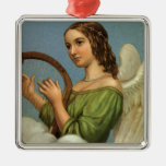 Vintage Christmas, Victorian Angel with Music Harp Square Metal Christmas Ornament
