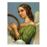 Vintage Christmas, Victorian Angel with Music Harp Postcard