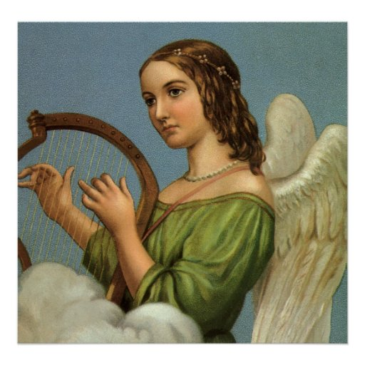 Vintage Christmas, Victorian Angel with Music Harp Poster