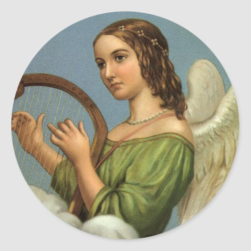 Vintage Christmas, Victorian Angel with Music Harp Classic Round Sticker