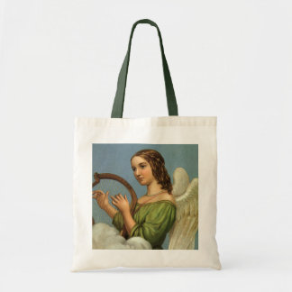Vintage Christmas, Victorian Angel with Music Harp Tote Bag
