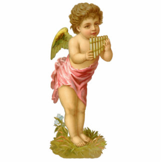 Vintage Christmas, Victorian Angel with Pan Pipes Cutout