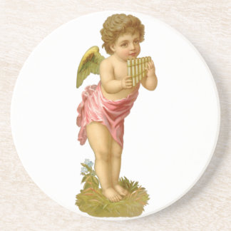 Vintage Christmas, Victorian Angel with Pan Pipes Drink Coaster