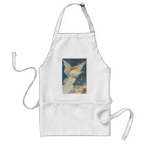 Vintage Christmas Victorian Angel with Stars Roses Adult Apron