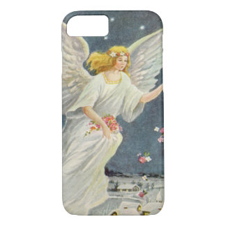 Vintage Christmas Victorian Angel with Stars Roses iPhone 8/7 Case