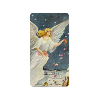 Vintage Christmas Victorian Angel with Stars Roses Personalized Address Labels