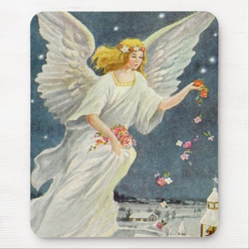 Vintage Christmas Victorian Angel with Stars Roses Mousepad