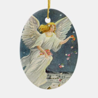 Vintage Christmas Victorian Angel with Stars Roses Christmas Tree Ornament
