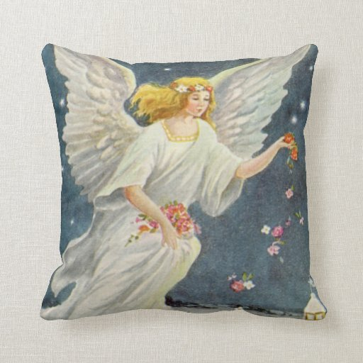 Vintage Christmas Victorian Angel with Stars Roses Throw Pillows Zazzle