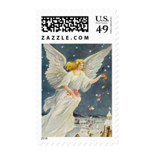 Vintage Christmas Victorian Angel With Stars Roses Postage at Zazzle