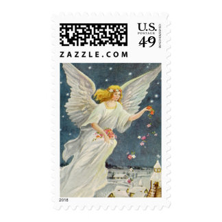 Vintage Christmas Victorian Angel with Stars Roses Postage