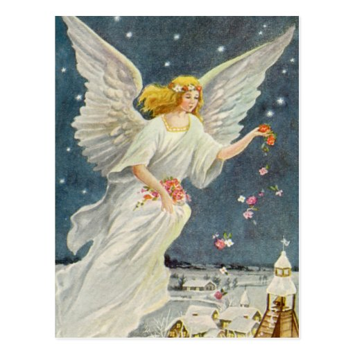 Vintage Christmas Victorian Angel with Stars Roses Post Card