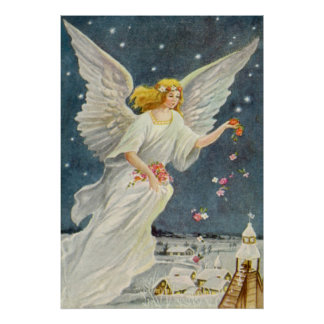 Vintage Christmas Victorian Angel with Stars Roses Print