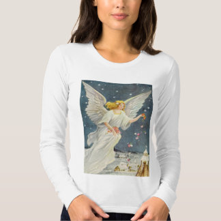 Vintage Christmas Victorian Angel with Stars Roses T-shirt