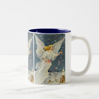 Vintage Christmas Victorian Angel with Stars Roses Two-Tone Coffee Mug
