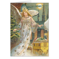 Vintage Christmas, Victorian Angel With Tree Card at Zazzle