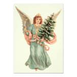 Vintage Christmas, Victorian Angel with Tree 5x7 Paper Invitation Card