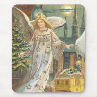 Vintage Christmas, Victorian Angel with Tree Mouse Pad