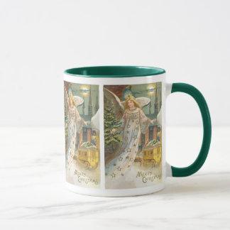 Vintage Christmas Victorian Angel with Tree Mug