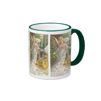 Vintage Christmas Victorian Angel with Tree Ringer Coffee Mug