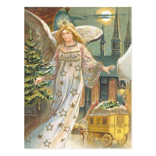 Vintage Christmas Victorian Angel with Tree Postcard