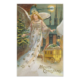 Vintage Christmas, Victorian Angel with Tree Poster