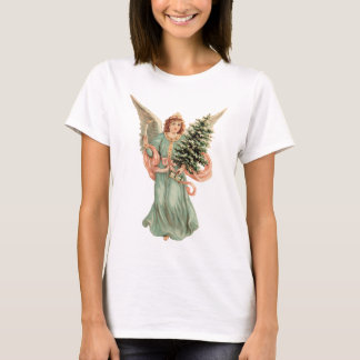 Vintage Christmas, Victorian Angel with Tree T-Shirt