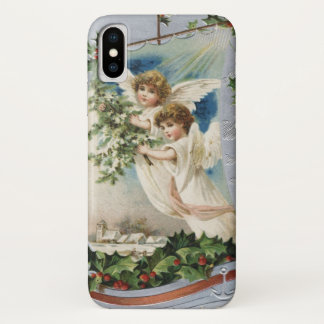 Vintage Christmas, Victorian Angels in a Sailboat iPhone X Case