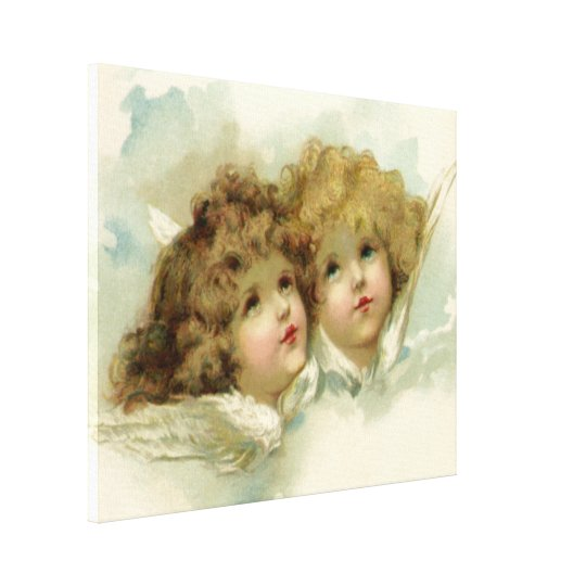 Vintage Christmas, Victorian Angels in the Clouds Canvas Print