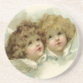 Vintage Christmas, Victorian Angels in the Clouds Coaster