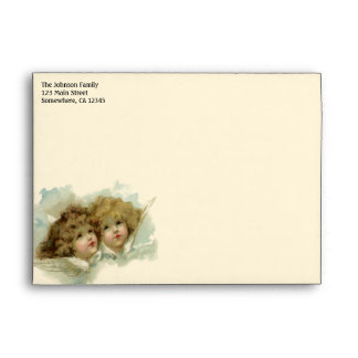 Vintage Christmas, Victorian Angels in the Clouds Envelopes