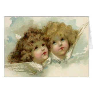 Vintage Christmas, Victorian Angels in the Clouds Greeting Card